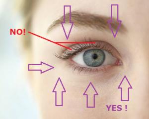 ненесение крема для глаз